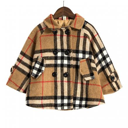 Plaid Turn-Down Collar Thickened Coat (5795121)