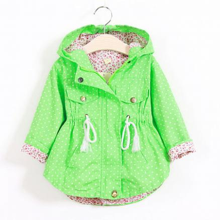 Spring Autumn Small Dots Girls Trench Coat (3427402)