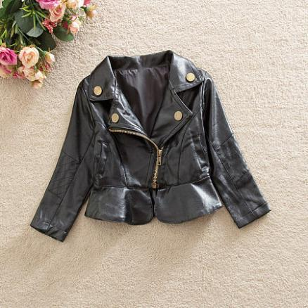Spring Autumn Girls PU Jacket (3436571)