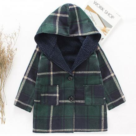 Plaid Hooded Thickened Coat (5784214)