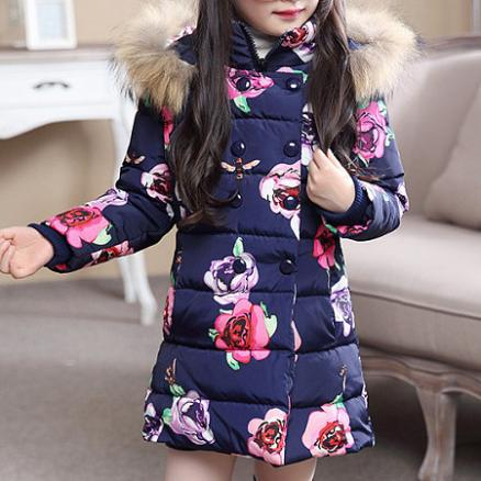 Floral Prints Zipper Hooded Coat (5146047)