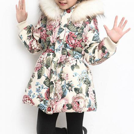 Floral Prints Elastic Waist Hooded Coat (5146015)