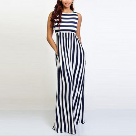 Stripe Sleeveless Wide Leg Jumpsuit (4642345)
