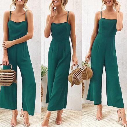 Solid Color Sexy Strap Jumpsuit (4215293)