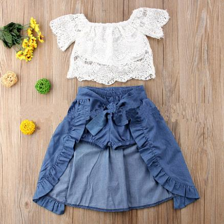 Lace White Top Self Belt Skirt Sets (4837306)