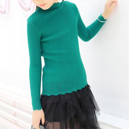 Solid Color Knit Petals Collar Long Sleeve Sweater (5201833)