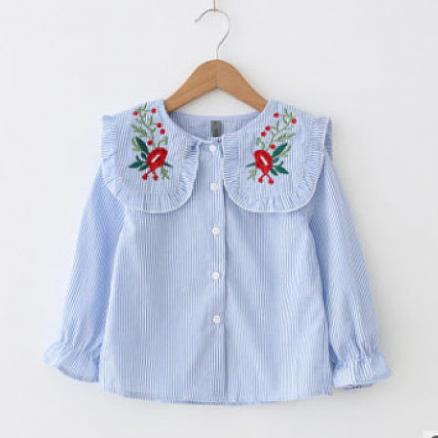 Striped Turn-Down Collar Flower Embroidered Shirt (5013043)