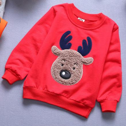 Solid Color Cartoon Elk Pattern T-Shirt (4963068)