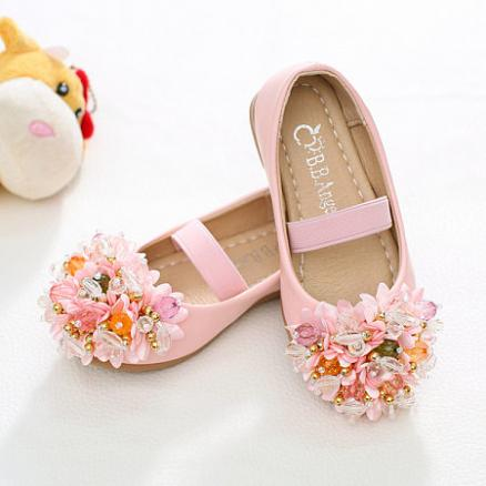 Faux Jewellery Flowers Decorated Girls Princess Daily Shoes (3435727)