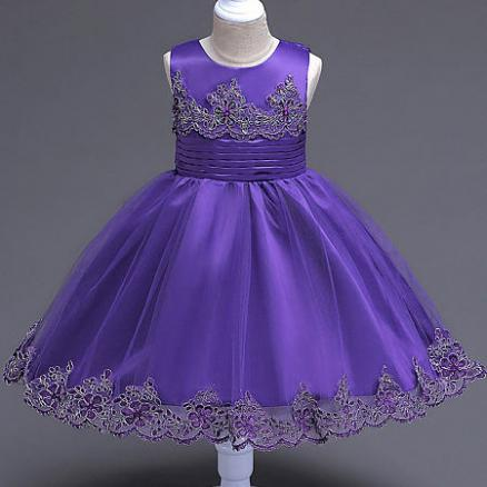 Beads Decorated Flower Embroidered Self Tie Princess Dress (4131088)