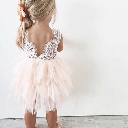 Flower Ornament Beads Lace Backless Tulle Sleeveless Dress (4177179)