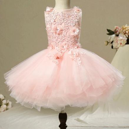Back Tie Flower Embroidered Rhinestone Tulle Tiered Skirt (4407030)