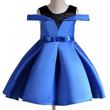Bowknot Decorated Self Tie Cold Shoulder Princess Dress (4108094)