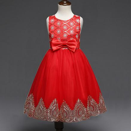 Exquisite Bowknot Embroidered Flowers Dress (3838112)