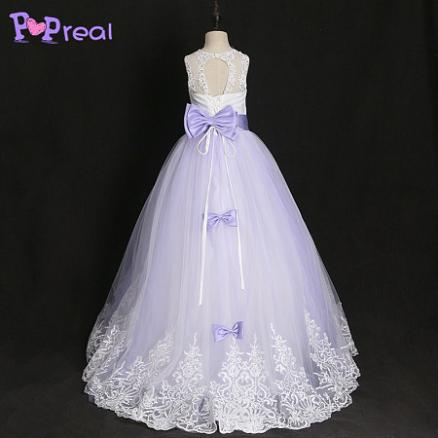 Lace Bowknot Sequin Decorated Floor Length Dress (4084222)