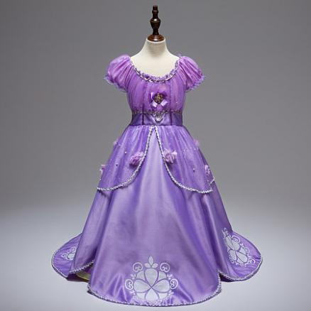 Purple Rhinestone Decorated Flower Pattern Dress (4172242)