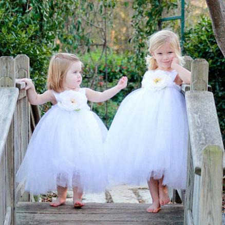 Flower Decorated  Bowknot Tulle Princess Dress (4629784)