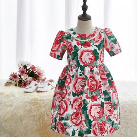 Floral Printed Beads Necklace Girl Flower Dress (3763729)