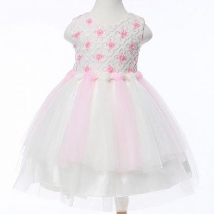 Embroidered Flower Sequin Back Bowknot Princess Dress (4141933)