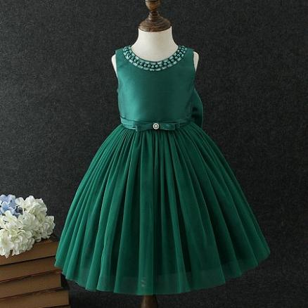 Beads Bowknot Decorated Tulle Princess Dress (4199664)