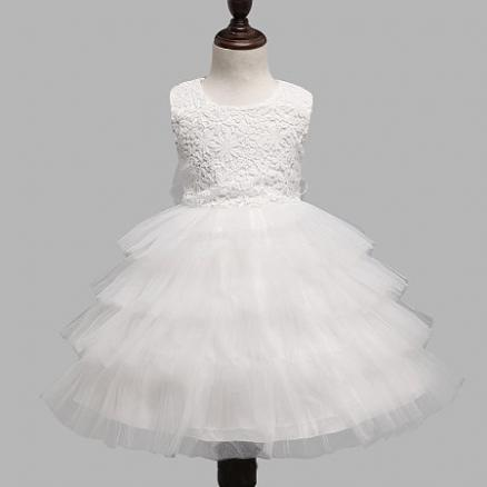 White Hollow Out Floral Prints Layered Tulle Princess Dress (3440028)