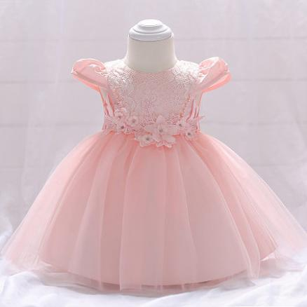 Flower Decorated Solid Pink Self Tie  Zipper Back Tulle Princess Dress (4599063)