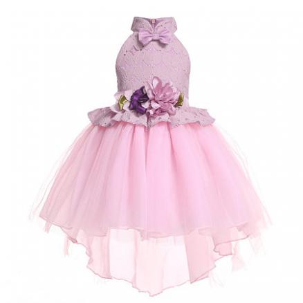 Flower Decorated Self Tie Solid Color Tulle Princess Dress (4836218)