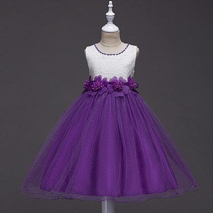 Flowers Decorated Beads Necklace Tulle Princess Dress (3787352)