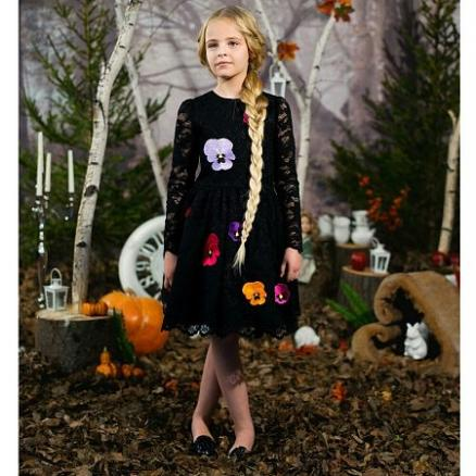 Flower Embellished Long Sleeve Lace Princess Dress (4199587)