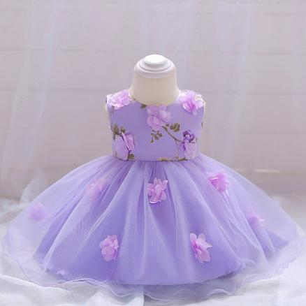 Flower Decorated  Solid Color  Bowknot Back  Tulle Princess Dress (4600377)