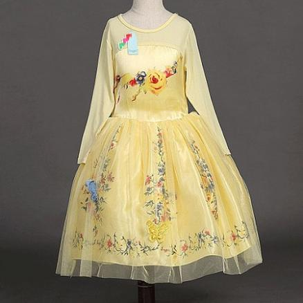 Flower Prints Tulle Princess Dress With Shawl (4329380)