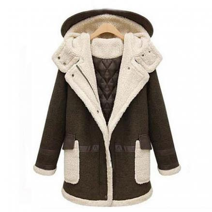 Thickened Maternity Artificial Lamb Wool PU Leather Hooded Coat (3904401)
