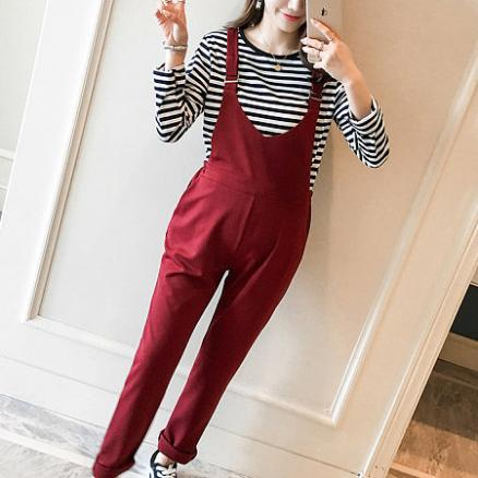 Maternity Stripes Top And Suspender Pants Two Pieces Set (3914998)