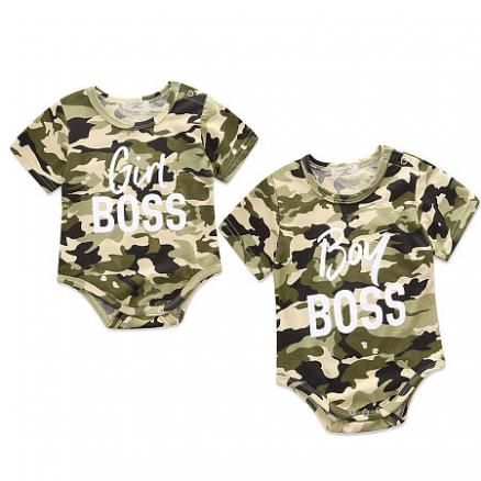 Brother Sister Camouflage Letters Pattern Matching Romper (4472557)