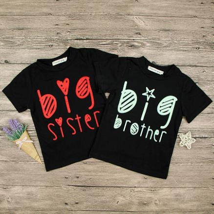 Brother Sister Letters Pattern Matching T-Shirt (4429115)