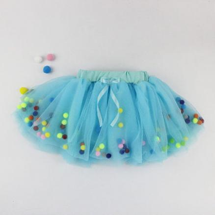 Pompons Decorated Self Tie Elastic Waist Skirt (4073213)