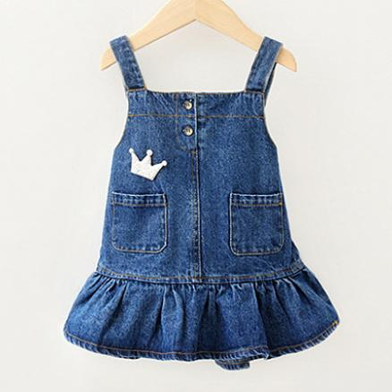 Crown Pattern Ruffle Hem Denim  Suspender Skirt (4938998)