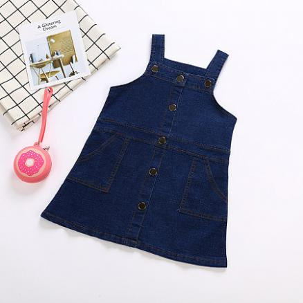 Shiny Button Decorate Simple Jean Strap Dress (5015295)