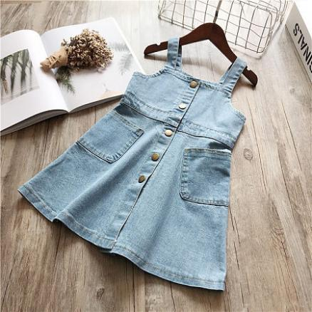 Denim Button Suspender Skirt (4797963)