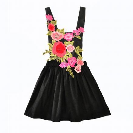 Embroidered Backless Suspender Skirt (3838258)