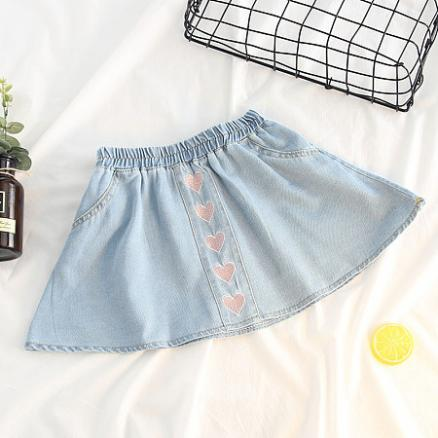 Heart Embroidered Elastic Waist Skirt (4728169)