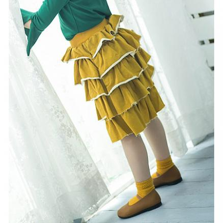 Elastic Waist Tiered Skirt (3845576)