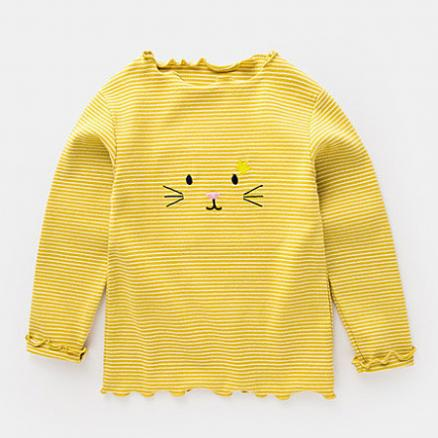 Stripes Cartoon Embroidered Tops (4977305)