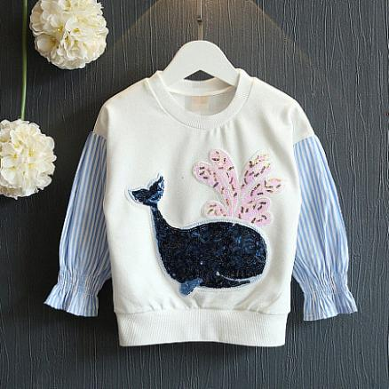 Sequin Decorated Whale Pattern Blouse (4977057)