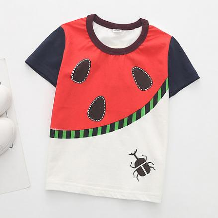 Cartoon Beetle Pattern Color Block T-Shirt (4649338)