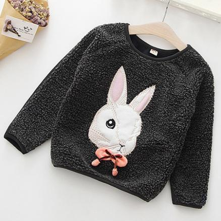 Thickened Bowknot Decorated Bunny Pattern Sweatshirt (4007361)