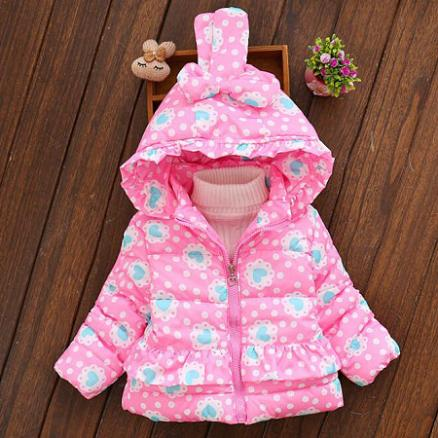 Thickened Heart Prints Polka Dots Bunny Ear Outerwear (4004478)