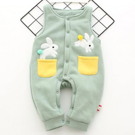 Cute Bunny Pattern Thickened Suspender Trousers (3943431)