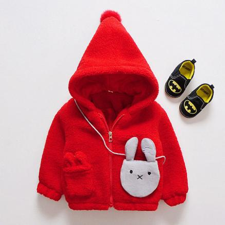 Bunny Pattern Thickened Zipper Outerwear With Bag (3969230)
