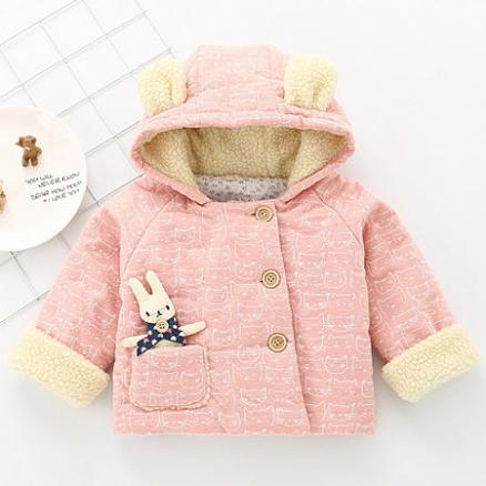 Bunny Embellished Thickened Hooded Outerwear (3924411)